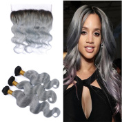Tony Beauty Hair #1B/Grey Human Hair Bundles With Lace Frontal 13x 4 Dark Root Two Tone Ombre Hair Weft With Ear To Ear Lace Frontal Free Parting