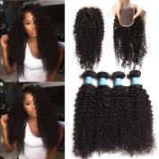 Longqi Hair Brazilian Virgin Curly Hair Weave 4 Bundles with 1pc Lace Closure 10cm x 10cm Free Part 100% Real Human Hair Extensions Natural Colour