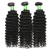 HEBE Indian Hair 3 Bundles 30cm 36cm 41cm Deep Curly Human Hair Bundles,Natural Black Grade 7A Virgin Hair Extensions,Tangle Free
