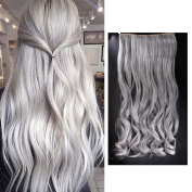 FUT Women 60cm One Piece 5 Clips Hair Extension Clip in Sliver