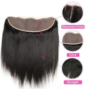 Flady Hair Brazilian Hair Closure Virgin Brazilian Hair Straight 13x 4 Free Part Straight Hair Weave Lace Closure with Bleached Knots 7A Lace Frontal Closure Natural Colour