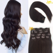 Ugea 36cm Dark Brown #2 Silk Straight Remy(Remi) Clip in Human Hair Extensions 9 Pieces Full Head Set 120gram Weight
