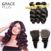 Grace Plus 7A Grade Unprocessed Human Hair Bundles with Closure Loose Wave Hair 3 Bundles with 4X4 Lace Closure Natural Black Colour