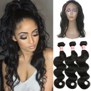 YIZE Hair 7A Virgin Brazilian Body Wave 3 Bundles with 360 Lace Frontal Closure Human Hair 13x 4x 2 Full Frontal Lace Closure Natural Black Colour