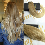Sunny 60cm Remy Human Hair Extensions Clip in 7pcs 120G Golden Brown to White Blonde Dip and Dye Ombre Full Head Clip in Hair Extensions Human Hair