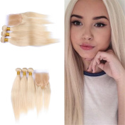 Tony Beauty Hair Blonde #613 Human Hair 3 Bundles With Lace Closure 4x 4 Silky straight #613 Top Lace Closure With Hair Extension 4Pcs/Lot 8-80cm