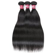 HEBE Peruvian Hair 3 Bundles 7A Unprocessed Peruvian Straight Hair Weave Bundles Extensions Natural Black Colour