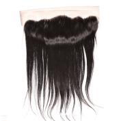 Divalovehair 13x 4 Lace Frontal Ear to Ear Free Part Brazilian Virgin Hair Straight Human Hair Full Lace Front Closures With Baby Hair Bleached Knots Natural Colour
