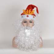 SiYi Santa Claus Style White Hair and Beard Hat for New Year and Christmas Parrty Synthetic Wig