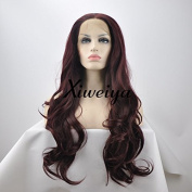 Xiweiya long glueless body wave 99j synthetic lace front wig heat resistant wine red colour wigs for women in stock