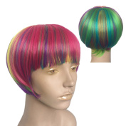 Namecute Short Rainbow Wig Colourful BOB Wigs Heat Resistant Synthetic Fibre for Cosplay