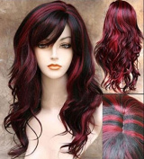 Imcolorful Sceret Synthetic Women Curly Wavy Black with Wine Red Cosplay Party Long Hair Full Wig