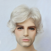 Synthetic Silver White Heat Resistant Short Wave Men's Wig