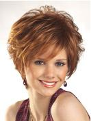 SmartFactory Short Golden Bob Curly European Human Hair Wig for Women Work