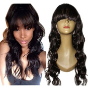 Foxys'Hair 130 Density Lace front Human Hair Wigs Brazilian Loose Wave Human Hair Wig with bangs natural hairline for black women 50cm Natural Colour