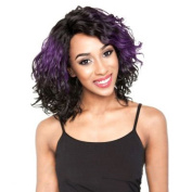 SmartFactory Women Short Natural Permanent Black Human Hair Wigs With Little Purple Wig for Usual Life