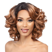 SmartFactory Short Golden Natural Explosion Synthetic Human Hair Big Curly Full Wig for Women