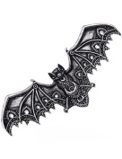 Silver Lace Vampire Bat Barette Hair Clips Occult