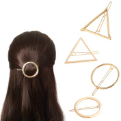 4pcs Metal Gold Hair Clip Hollow Circle Triangle Clasp Accessories Geometric Side Pin Women Girl Hairpin