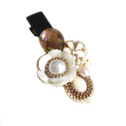 "Hanabe ""Casso"" Handmade Brown Sugar White Metal Flower Beaded Hairclip Hairpin"