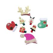 8Pcs Bling bling Christmas Series Hair Clip Baby Toddler Cute Christmas Hair Clip Set Best Gift for Kids