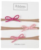 Thin Suede Bow Nylon Headband Set - Pink