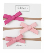 Small Suede Bow Nylon Headband Set - Pink