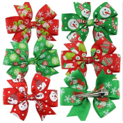 Shineweb 6Pcs Christmas Kids Girls Bowknot Hairpin Headdress Hair Bows Clips