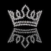 FUMUD Silver Full Crystal Rhinestone Small Crown Hairpin Mini Tiara Hair Clip (6PCS)