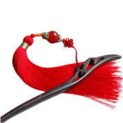 Retro Women Hair Stick Accessories Black Wood Flower Tail Hairpin Updo Chignon Pin Vintage Chinese Red Tassel