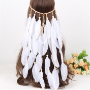 AWAYTR New White Feather Headband Women Festival Wedding Headwear Bohomia Feather Rope Crown Headdress
