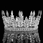 FUMUD FUMUD Height 8.6cm Big Crown Full Tiara Wedding Crown Cride Silver Leaf Rhinestone Tiaras Royal Crystal Crowns