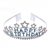 FUMUD Happy Birthday Rhinestone Letters and Star Design Tiara Crown Headband Comb Pin Happy Birthday Tiaras