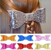 PETMALL 7pcs Bling Bows Design Kids Hairpins Handmade Aritificial Felt Hair Clips Lovely Bowknot Accessories E049