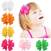 PETMALL 6Pcs Baby Girls Grosgrain Ribbon Boutique Hair Bows Clips Hair Pins Mixed Colour E043