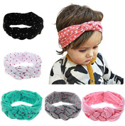 PETMALL 5pcs Baby Printing Knot Hair Band Baby Girls Headband Ribbon Elasticity Ferret Hair Accessories Headwear E020