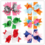 PETMALL 6pcs Bowknot Hairpin Hair Clips Baby Girl Ribbon Bow Barrettes Hair Accessories E057