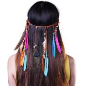 Kloud City Tribal Boho Peacock Feather Headband Weave Hippie Headwear Masquerade Fancy Dress