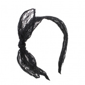 Merroyal Black Lace Ears Headband Halloween Fancy Dress Party Bunny Band Sexy Costume