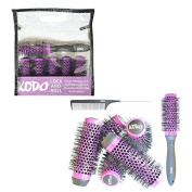 Kodo Lock And Roll Brush Set Sytem, 6 Barrels, 1 Locking Handle And 1 Pin Tale Comb, Brush Gift Set