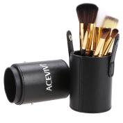 ACEVIVI 7 pcs Premium Kabuki Pink Makeup Brush Set Face Powder Foundation Eye Cosmetic Brush Kit with Roller Case, Black
