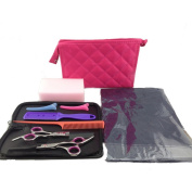 Surker Professional 15cm Scissors/Shears Kit Hair Cutting Scissors & Thinning Scissors With Pink Cosmetic Bag,Leather Bag,Cloth,Sponge PCPA00191F