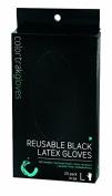 colour trak Black Reusable Gloves, Large, 20 Count