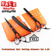 Black Friday Sales - Professional Barber Saloon Styling Hair Cutting Scissors - 17cm Inch Hairdressing Hair Thinning Scissors/Shears , Deep Black Stainless Steel Scissors + Case