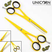 100 % Brand New ! Eye Catching Professional Barber Salon Yellow Finish Hair Cutting Scissors, Stylish Supercut Thinning Hair Scissors/Shears Come in a PVC Pouch By Unicorn Plus