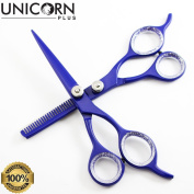 Unicorn Plus - Deep Blue Hair Scissors Set ,Professional Hair Cutting + Thinning Scissors / Shears (5½ Inch/13.97 Cm ) Super Cut Series - Barber Salon Stylish Scissors Set + PVC Pouch