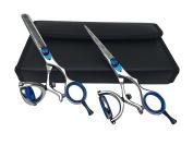 NEW PROFESSIONAL DOUBLE SWIVEL Barber Scissors & Thinning Shears Polish Stripe Set 14cm Japanese Stainless Steel + Free Case