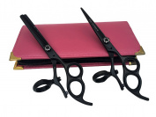 Professional Hairdressing 3 Ringed Barber Black Scissors Thinning Shears Set 15cm Hand Made By Japanese Steel + Free Pink Pouch