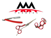 Professional Hairdressing Shears/Scissors 14cm Inch & Shaving Razor with Quality Barber Hairdressers Bracelet Red Colour