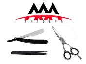 Professional Razor Edge Hair Cutting Scissors 4.5 with Shaving Razor and Tweezers